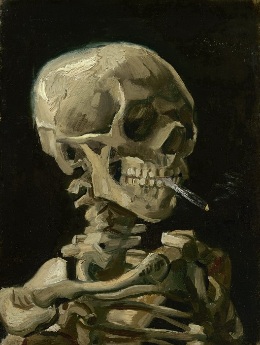 Vincent van Gogh-Skull with Burning Cigarette