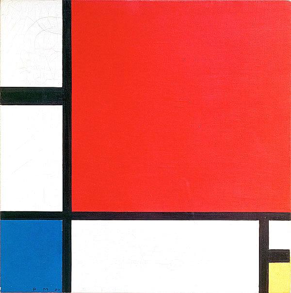 紅色、藍色和黃色的構成